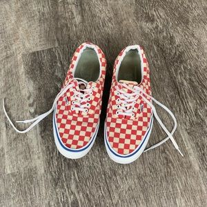 Men's red and white checkered Vans